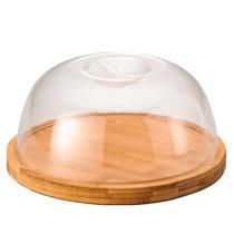 Tábua Bambu Com Tampa Plástico Dome (18cm)