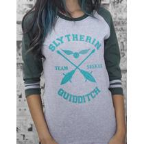 Camiseta Raglan Quadribol Sonserina Harry Potter Slytherin