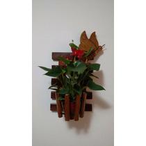 Cachepot Vertical Em Madeira Maciça (sem Flor / Vaso)