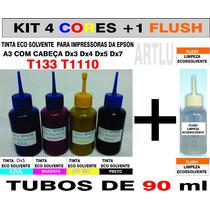 Kit 4 Cores Eco Solvente T1110 + Flush De Limpeza
