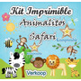 Kit Imprimible Animalitos Safari + Candy Bar Invitaciones