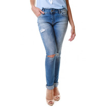 Calça Jeans Multi Ponto Denim Skinny Desfiada