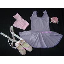 Kit Roupa Uniforme Ballet Para Aulas Infantil Rosa Com Lilas