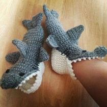 Pantuflas Tiburon Al Crochet