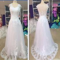 Vestido De Noiva Rendado Grátis Véu, Pronta Entrega