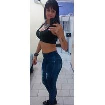Calça Legging Estampa Jeans Rasgado Fitness Kit 10 Pcs