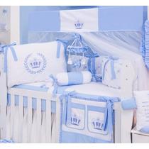 Kit Berço Menino Príncipe Coroa Realez Azul Baby 24horas