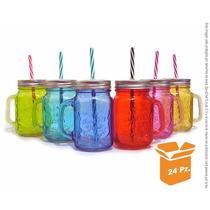 Tarro Mason Jar De Color Con Popote Caja De 24pz Surtidas