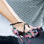 Sapato Salto Alto Feminino Florido Tendencia Exclusivo Lindo