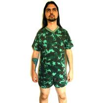 Pijama Camuflado Algodão Manga Curta Exército Militar Verde