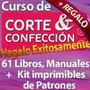 Kit Patrones Corte Y Confección,costura 61 Libros + Regalos<br><strong class='ch-price reputation-tooltip-price'>$ 3.000</strong>