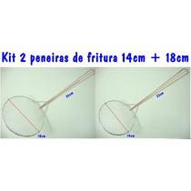 Escumadeira Coador Peneira Fritura Óleo 14cm E 18cm Kit 2un
