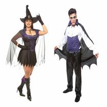 Fantasia Bruxa E Dracula,casal,halloween,kit 2 Fantasias