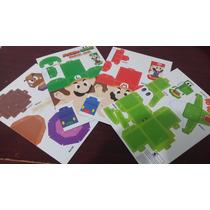 4 Figuras Carton Armar Mario Y Luigi Paper Jam Originales