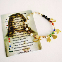Pulsera Dorada Con Historia De Jesus Chapa De Oro De 14 Kl