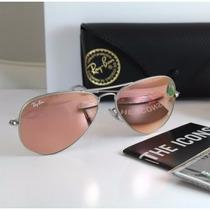 Óculos Rayban Aviador Espelhado Rose Rb3025 Original