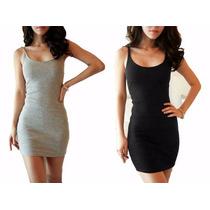Vestido Básico Algodón C/lycra Entallado Mujer Verano 17`
