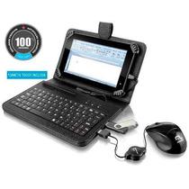 Capa Case Couro Com Teclado Usb Tablet 7 Pol. + Caneta Touch
