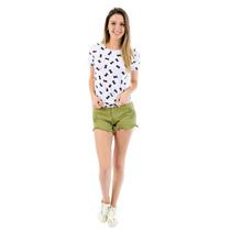 T-shirt Feminina Barata Blusa Estampada Gatinhos Branco