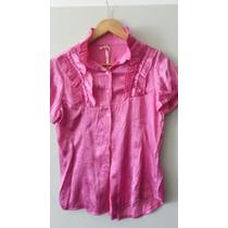 Camisa De Seda En Color Fucsia Con Voladitos
