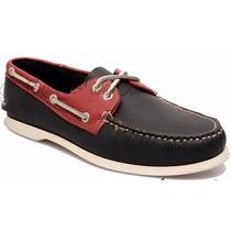 Zapato De Piel Top Sailer Modelo 102 Marino / Rojo