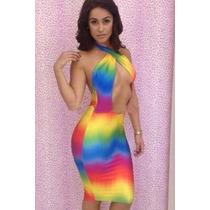 Moda Sexy Mini Vestido Fiesta Colores Vivos Tirante Cruzado
