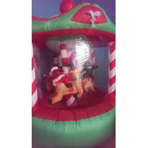 Inflable Navidad Carrusel Con Movimiento Santa