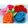 Flor Con Hoja Al Crochet (pack De 5 Unidades)