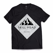 Camisa Blusa Masculina Skill Head Since 2013 Preto Montanha
