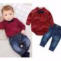 Novo Conjunto Xadrez Camisa + Calça Jeans Meninos 0 A 2 Anos