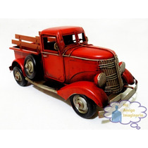 Camioneta Roja Pick Up Clasica Escala Vintage Retro Metal