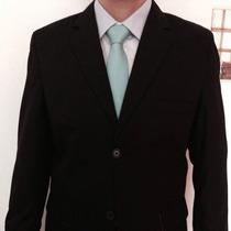 Terno Slim Oxford Preto 2 Botões + Gravata + Frete Grátis