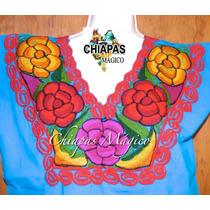 Blusa Celeste Bordada A Máquina De Zinacantán, Chiapas. (m)