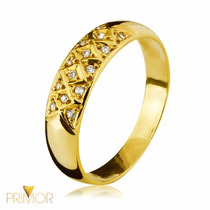 Anel De Ouro Com 5mm Largura E 14 Zircônias Com 2,5g An045