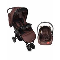 Carrinho Passeio 3 Rodas C/ Bebê Conforto - Marrom - Dardara