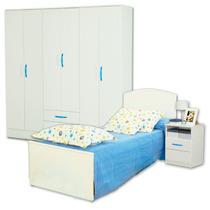 Combo De Dormitorio Cama Fiona + Placard 6 Puertas + Mesita