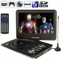 Dvd Portátil Tela 9,8 Tv Fm Jogos Controle Joystick Usb Sd