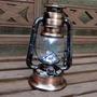 Luminária De Led Modelo Lampião Antigo Retro Cor Cobre 29cm