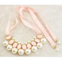 Collar Gargantilla Perlas Listón Elegante Casual Vintage
