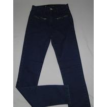 Calça Jeans Escura Cintura Alta Detalhe Ziper Tam 38