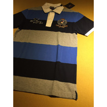Camisa Polo Paul And Shark P&s Piquet Cinza Azul Listrada M