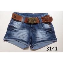 Short Feminino Jeans Oppnus C/ Cinto Cós Médio Lycra 3141