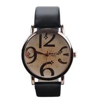 Relógio Feminino Pulseira Preta E Detalhes Na Cor Bronze