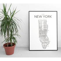 Lamina Lista Para Enmarcar Mapa New York