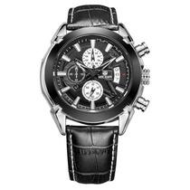 Relógio Masculino Classico Luxo + Bracelete De Couro Preto