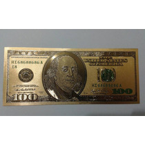 Nota 100 Dólares Folha Ouro 24 K Dolar Americano Coleção