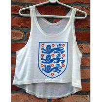 Blusa Inglaterra Seleção De Futebol Cropped Regata Cavada