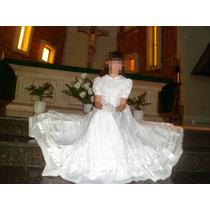 Vestido Comunion Talle 10/12 Alta Confeccion ·$1.200