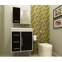 Gabinete Armário Para Banheiro Com Pia Roma Branco_preto