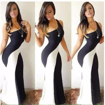 Vestido Longo Mula Manca 3d - Preto E Branco